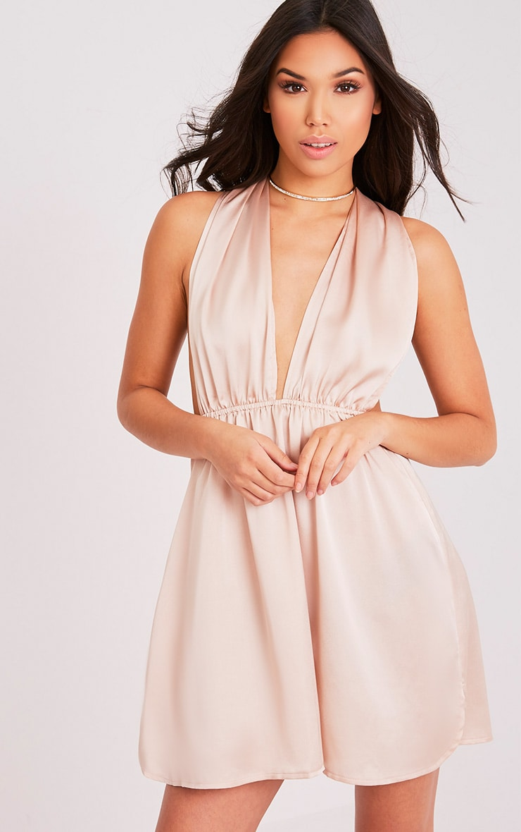 Tara Champagne Silky Multiway Mini Dress 4