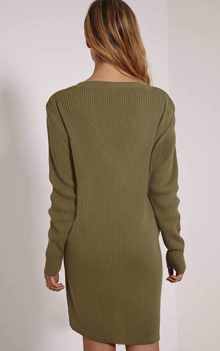 Nashton Khaki V Neck Ribbed Jumper Dress 2