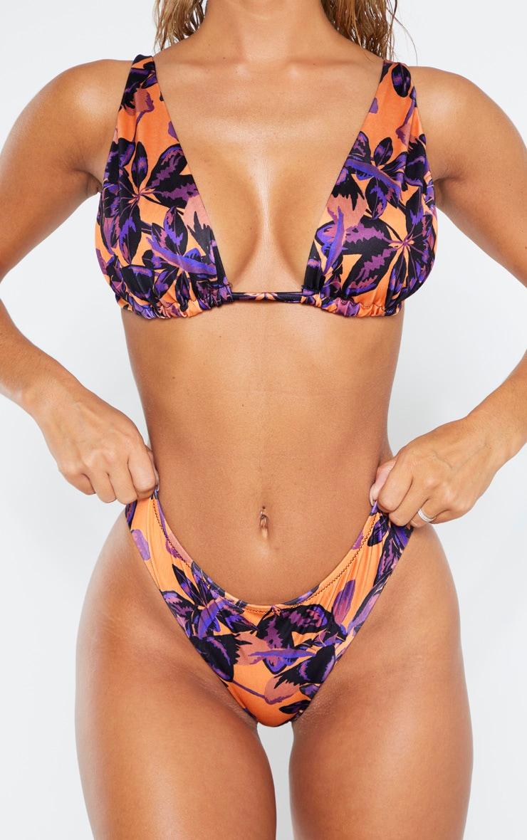 Orange Shadow Leaf Cheeky Bum Bikini Bottom 5