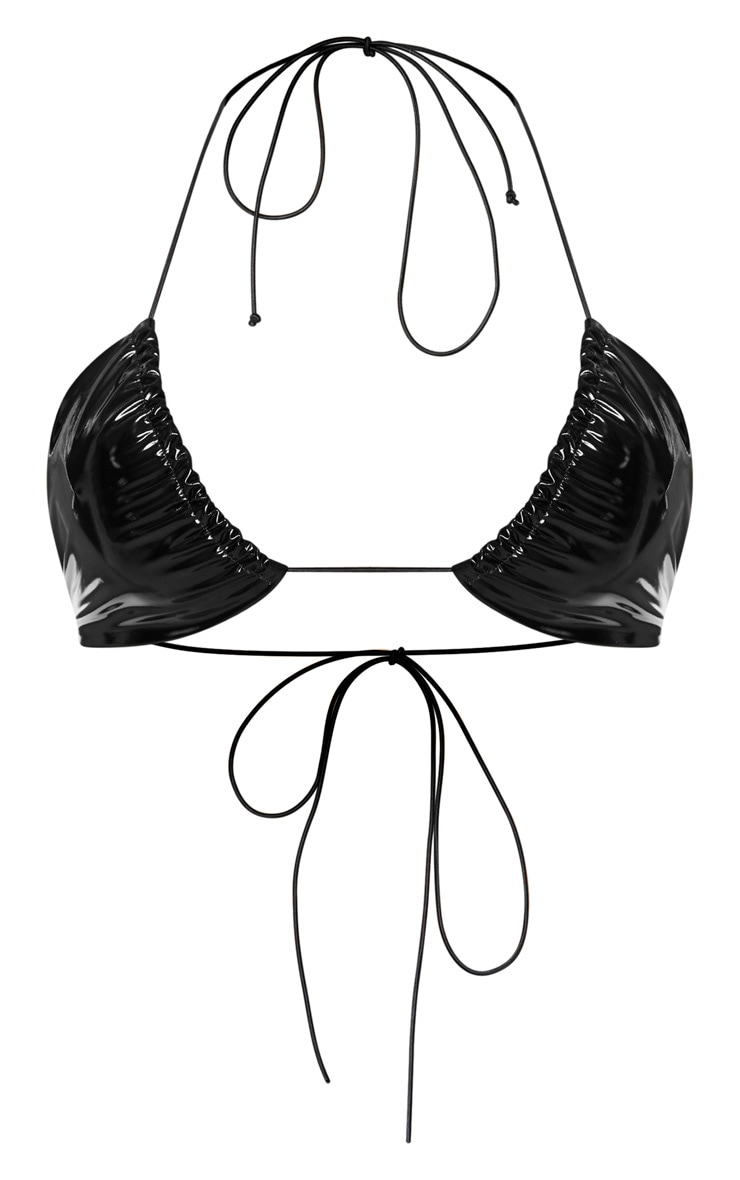 Black Vinyl Elasticated Strap Triangle Bikini Top 3