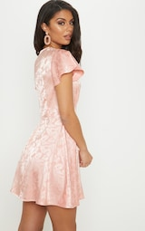 e50d94344d Pink Floral Jacquard Ruched Top Skater Dress image 2