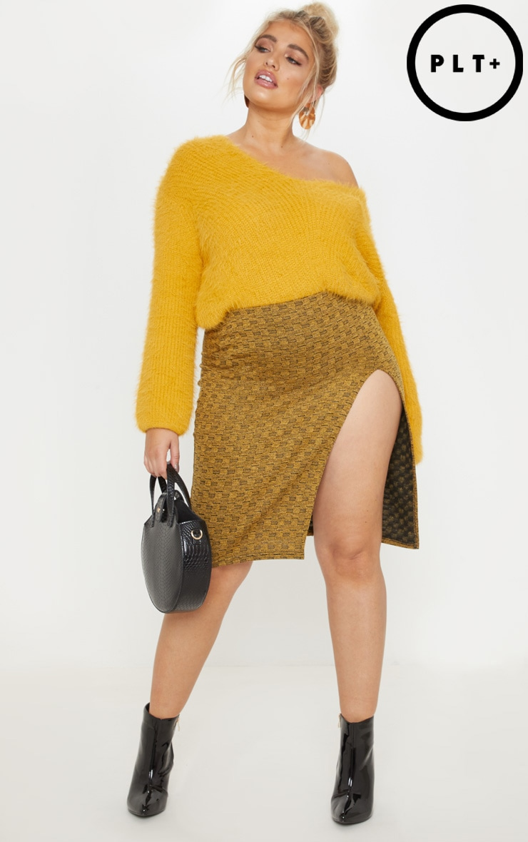Plus Mustard Textured Side Split Midi Skirt