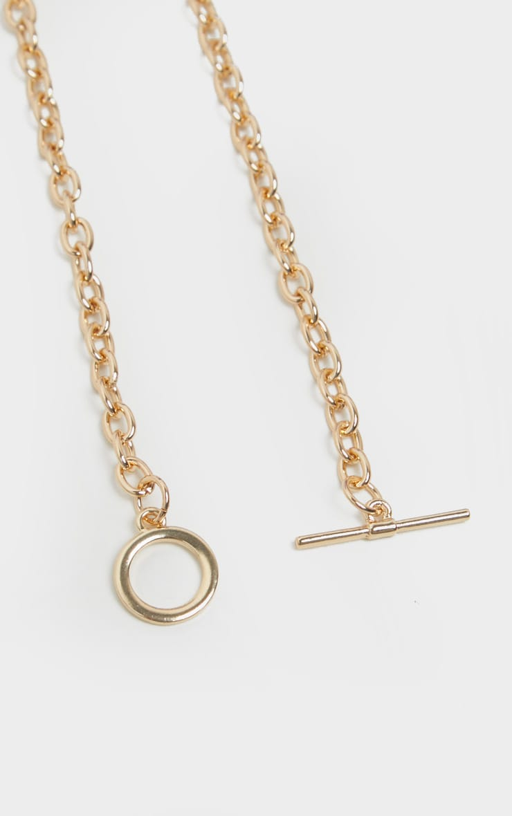 Gold T Bar Hoop Chain Necklace 4