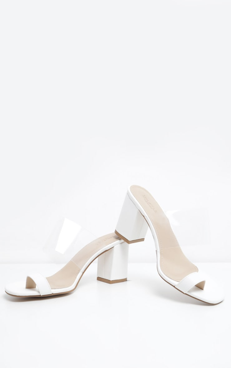 White Clear Block Heel Toe Loop Mule 3