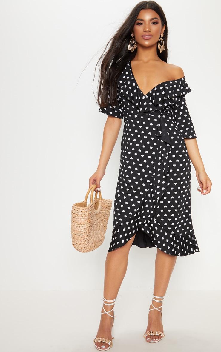 Black Heart Print Frill Detail Wrap Midi Dress 1
