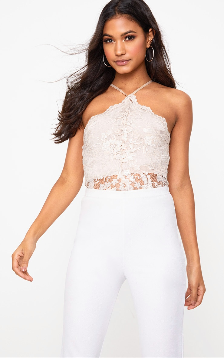 Nude Scallop Lace Thong Bodysuit 2