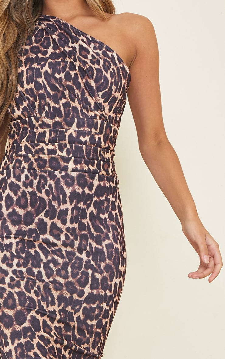 Tan Leopard Print One Shoulder Ruched Detail Midi Dress 4