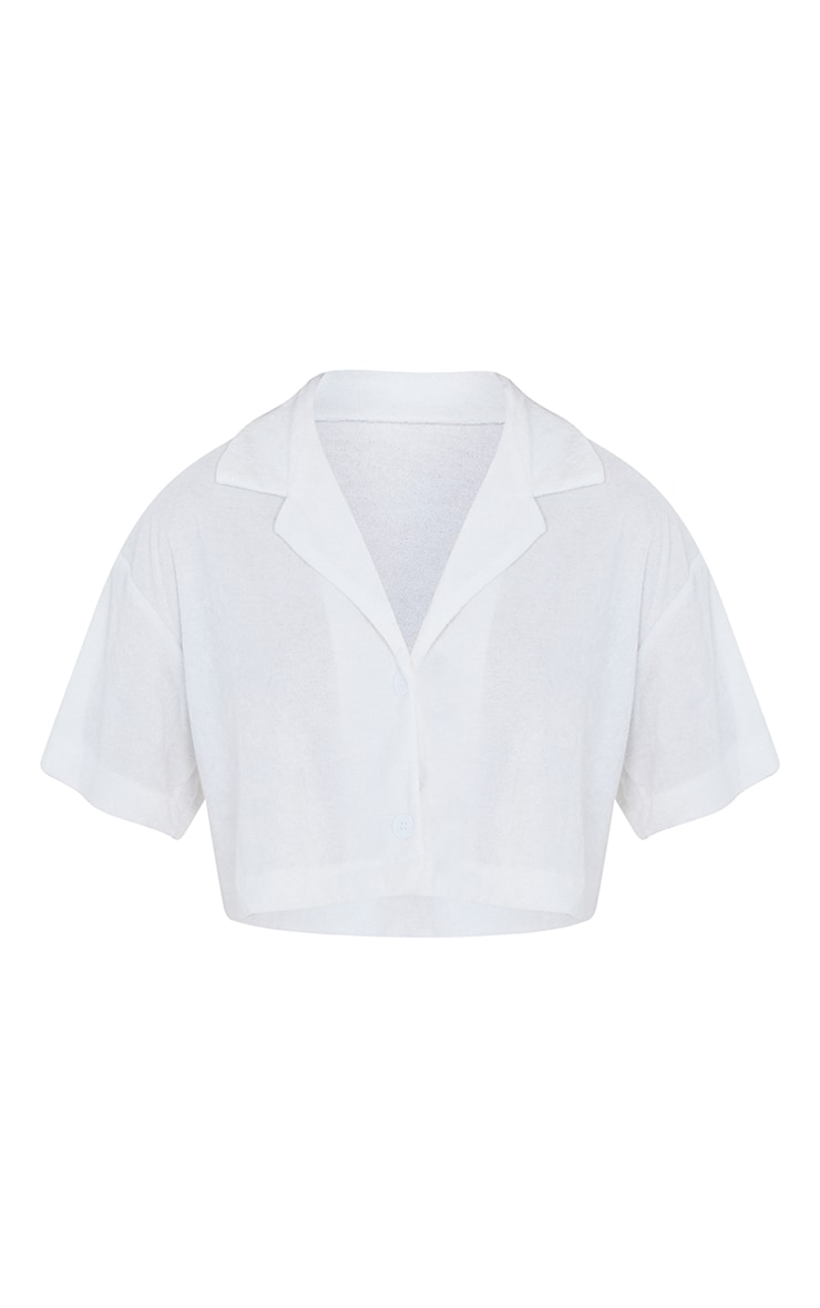 White Towelling Oversized Short Sleeve Crop Shirt 5