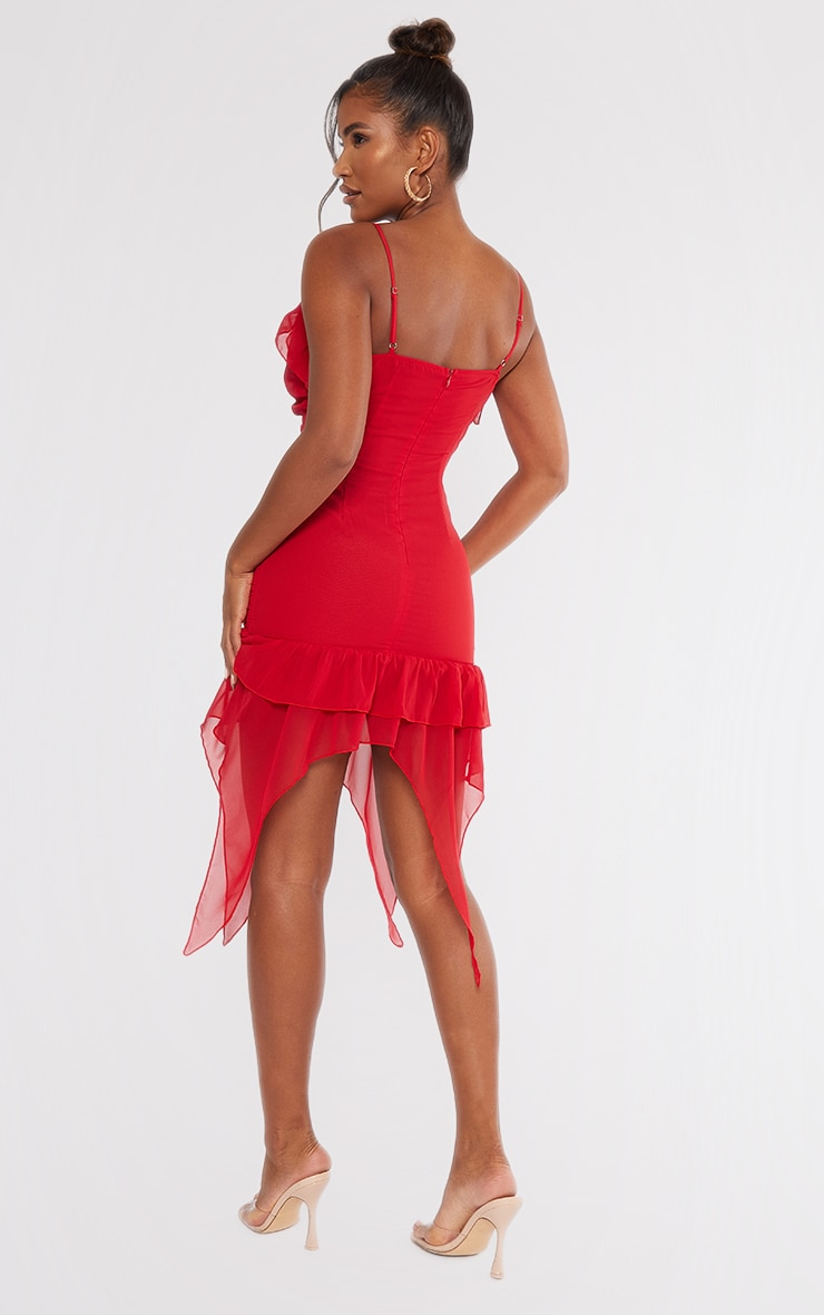 Red Chiffon Ruffle Detail Strappy Bodycon Dress 2