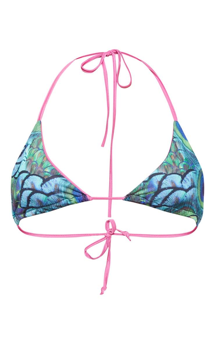 Multi Peacock Print Triangle Bikini Top 4