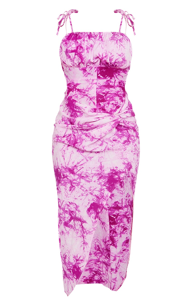 Pink Tie Dye Print Strappy Cut Out Knotted Skirt Midaxi Dress 5