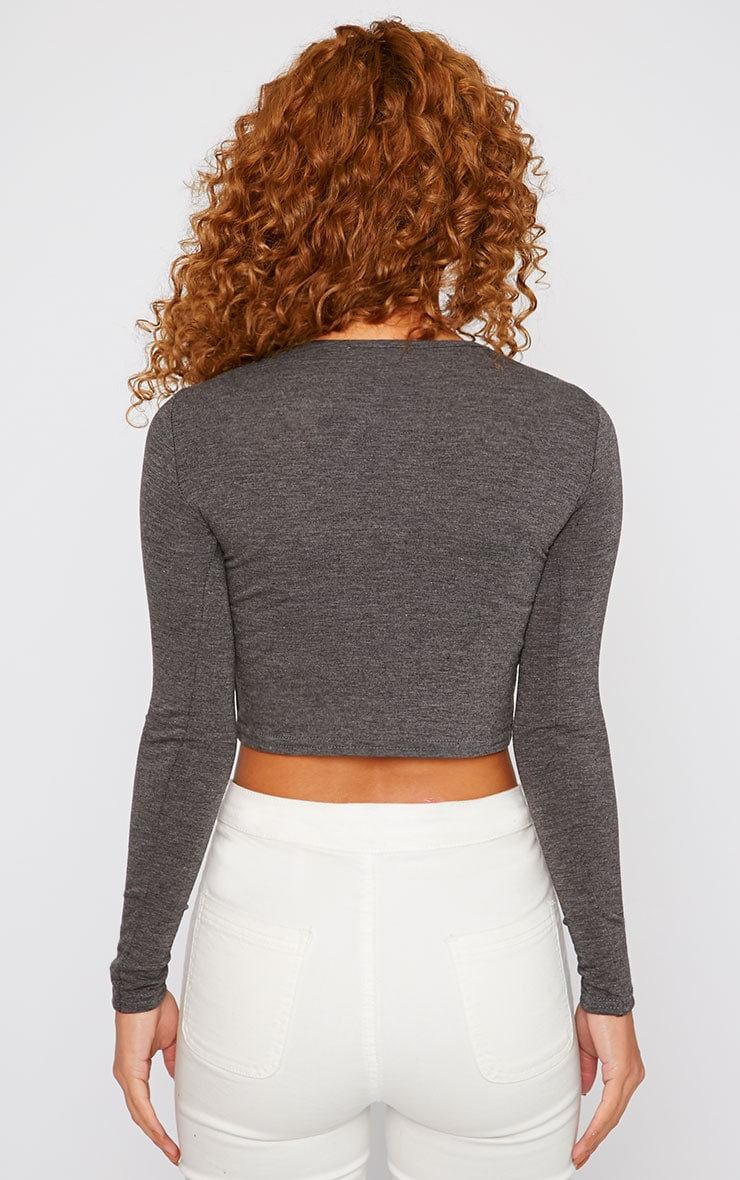Basic Charcoal Long Sleeved Crop Top 2