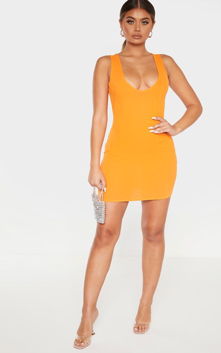 Tangerine Bandage Rib Sleeveless Bodycon Dress 1