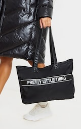 PRETTYLITTLETHING Black Nylon Tote Bag 1