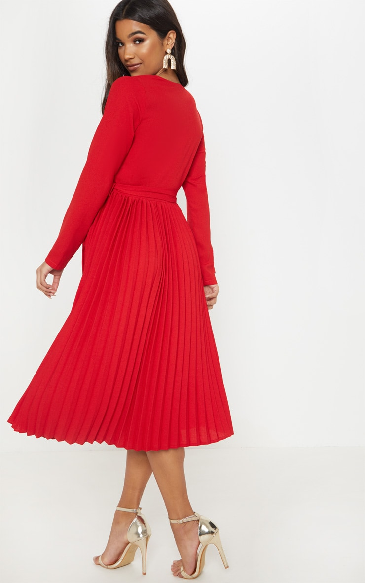 Red Long Sleeve Pleated Midi Dress 2