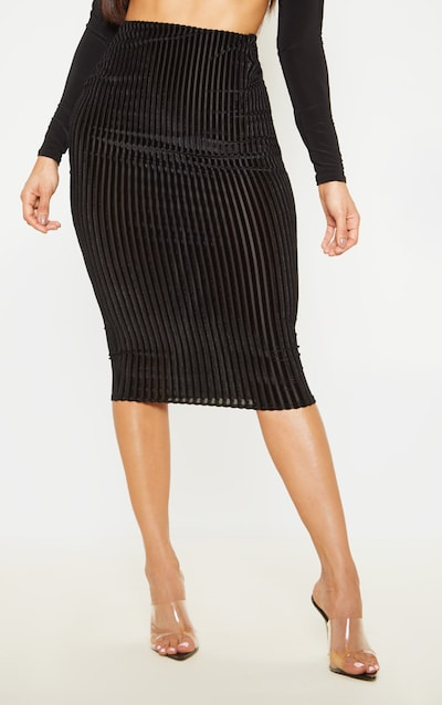 Black Striped Velvet Midi Skirt