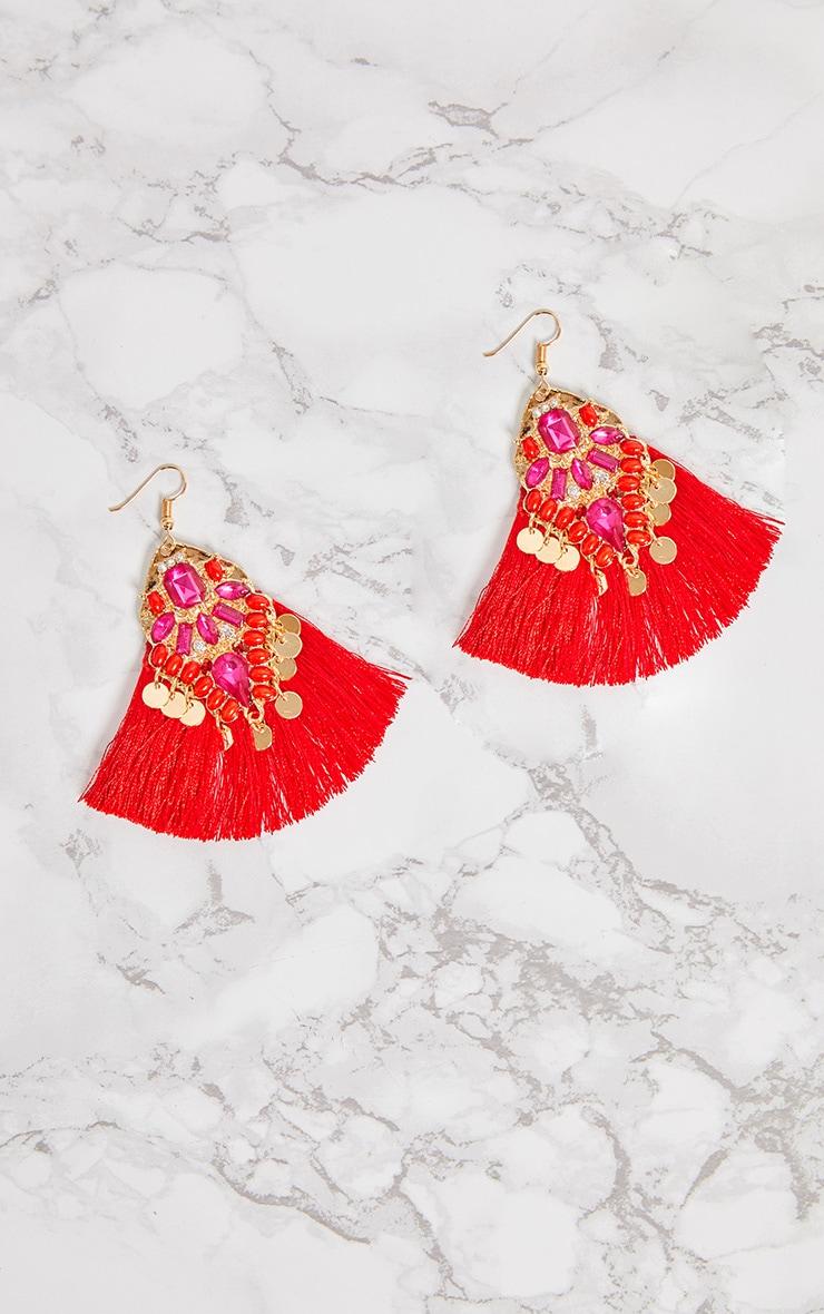 Red Gem Tassel Earrings 4