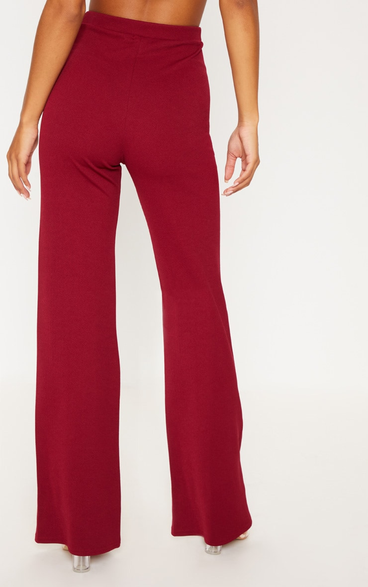 Maroon Contrast Panel Wide Leg Pants 4