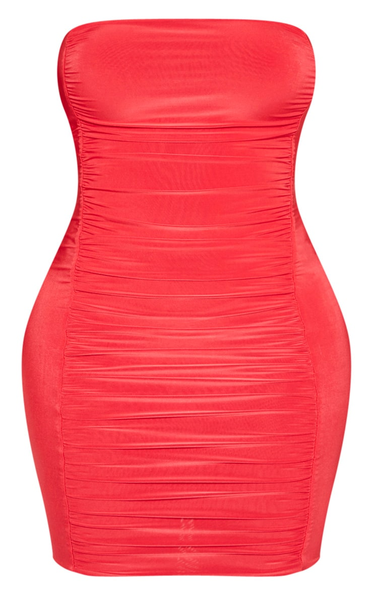 Shape Red Slinky Ruched Bandeau Bodycon Dress 3
