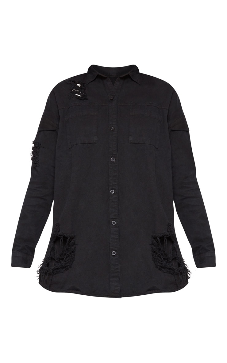 Black Oversized Distressed Denim Shirt 4