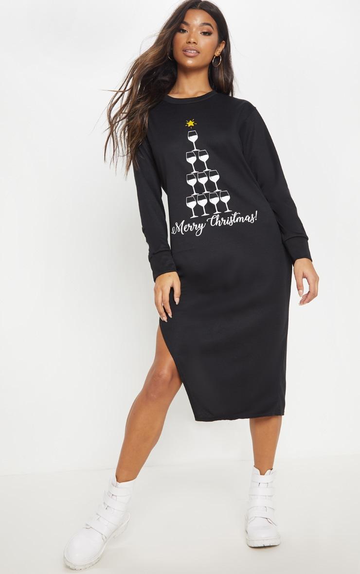 black merry christmas midi jumper dress  prettylittlething
