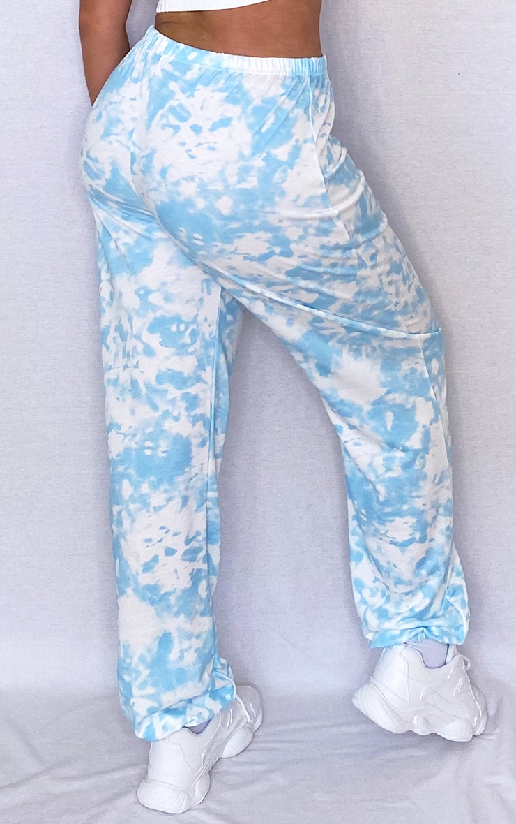 Plus Light Blue Tie Dye Basic Cuffed Hem Joggers 3