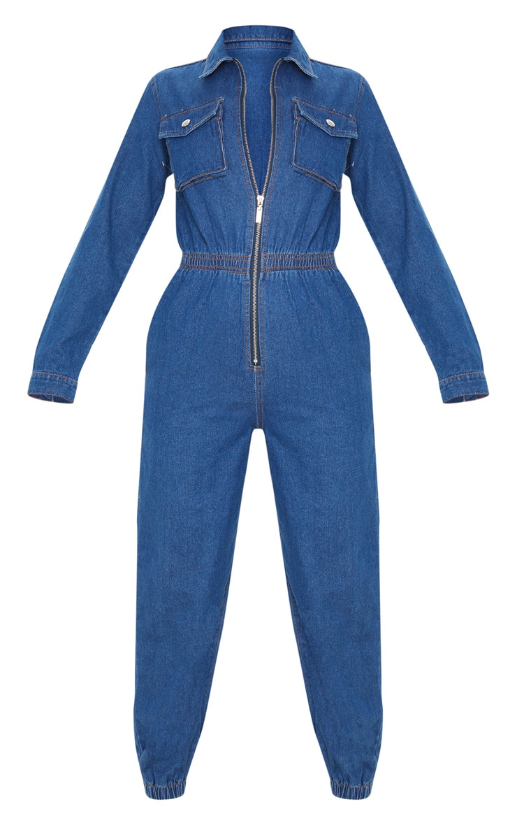 Mid Wash Zip Front Denim Jumpsuit 3