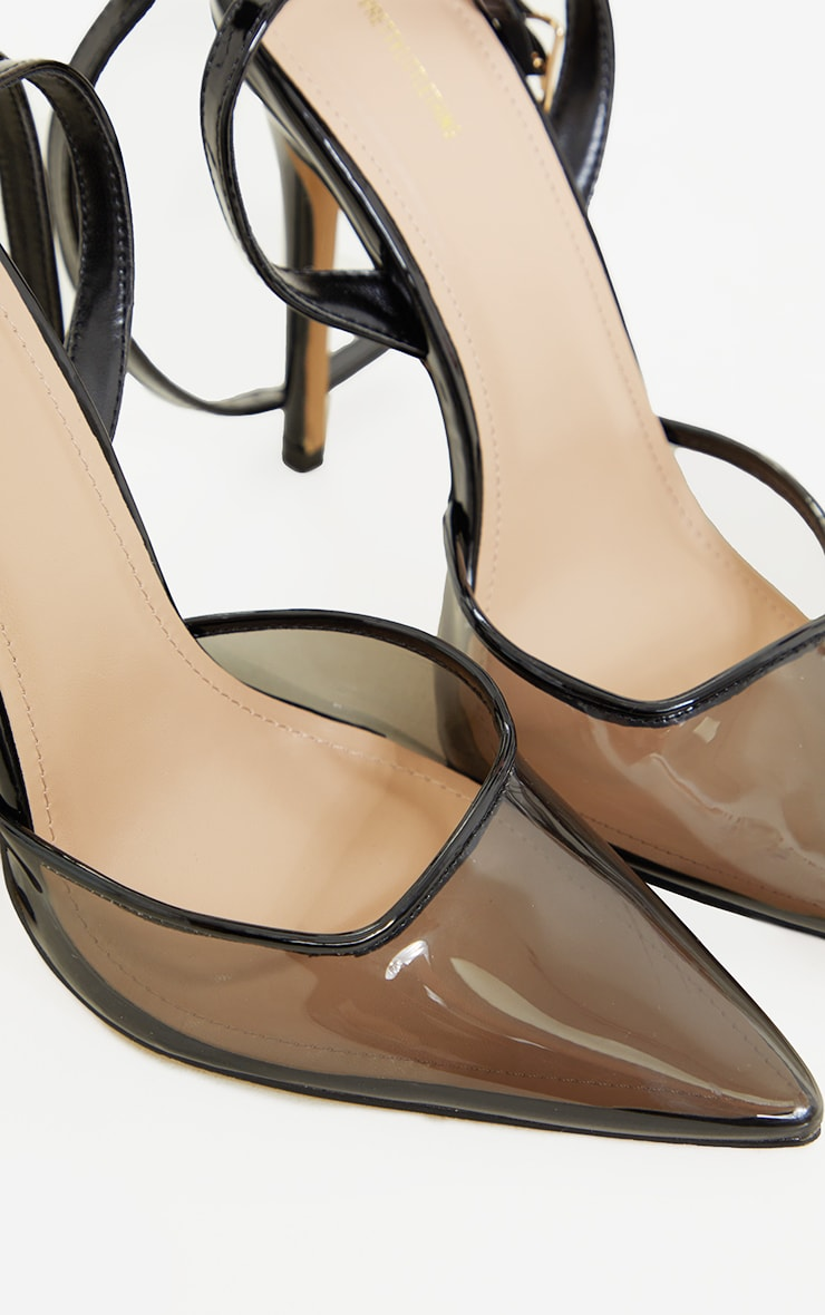 Black Smoked Clear Box Court High Heels 4