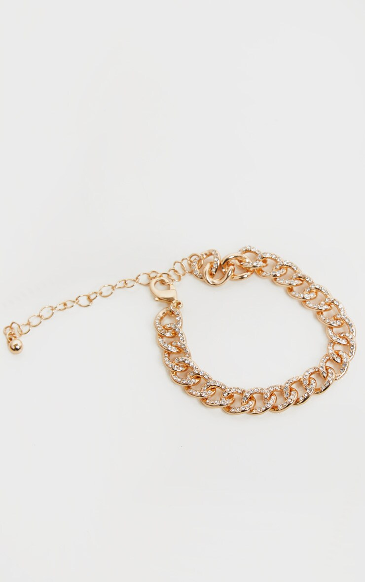 Gold Diamante Link Chain Anklet 3
