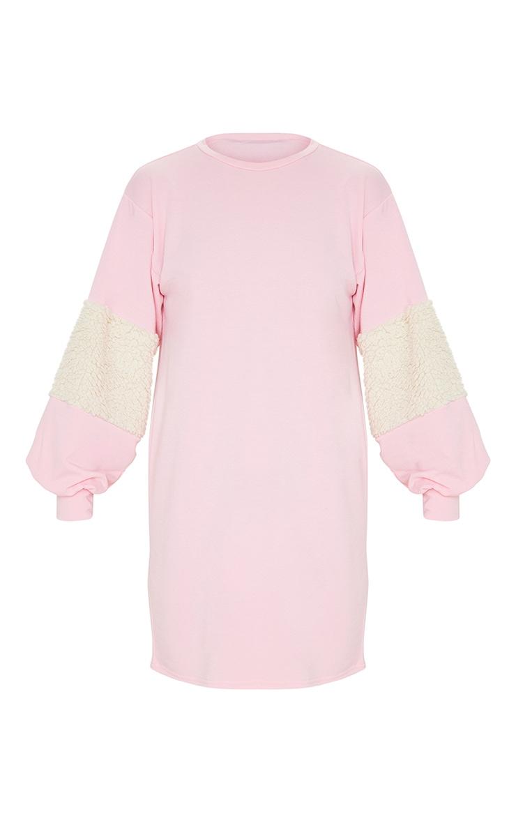 Baby Pink Borg Panel Oversized Sweater Dress 4
