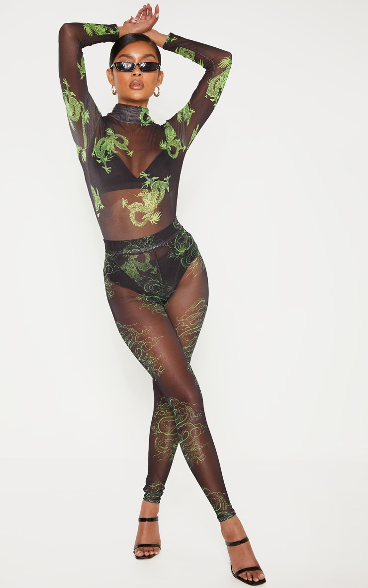 Green Dragon Neon Lights Printed Mesh High Neck Long Sleeve Bodysuit 3