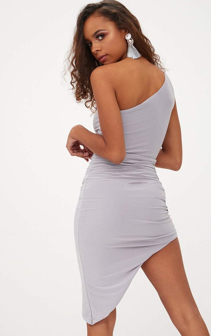 Petite Ice Grey Slinky One Shoulder Asymmetric Ruched Dress 2