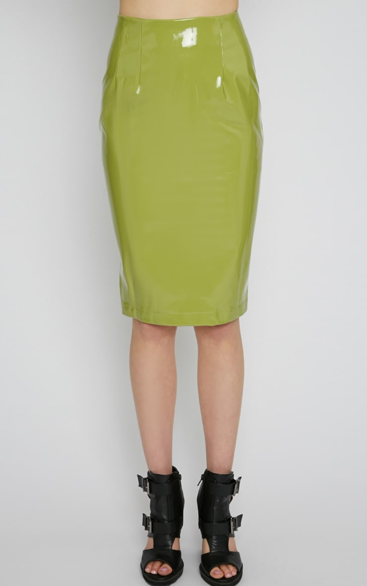 Kortney Green High Shine PVC Midi Skirt 3