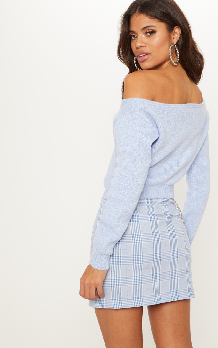 Blue V Neck Off Shoulder Soft Knitted Cropped Sweater 2