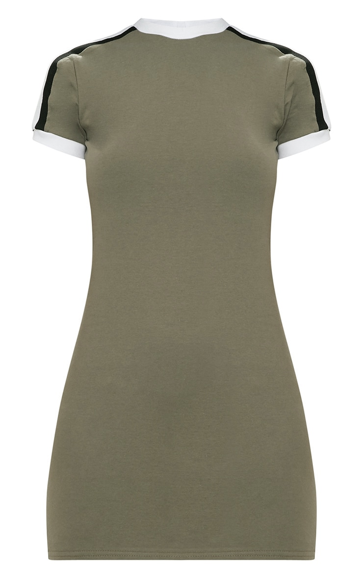 Khaki Triple Stripe Shoulder T Shirt Dress 3
