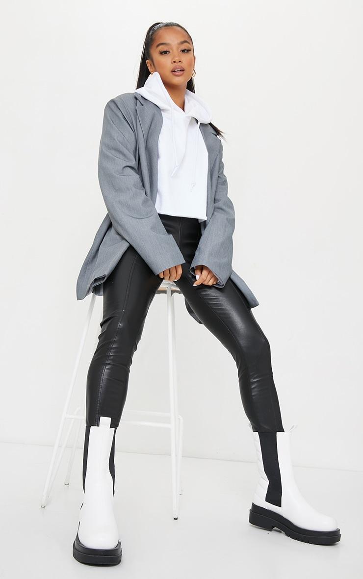 Petite Black Faux Leather Stretch Leggings 1