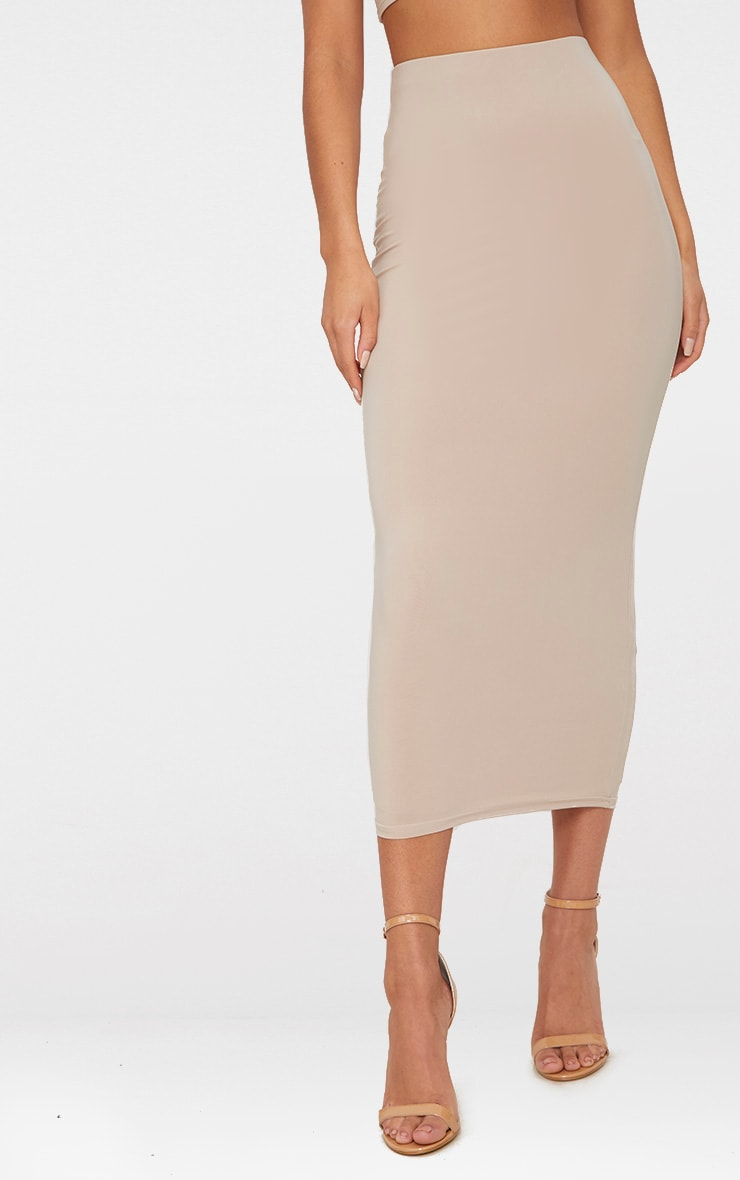 Stone Slinky Longline Midiaxi Skirt  2