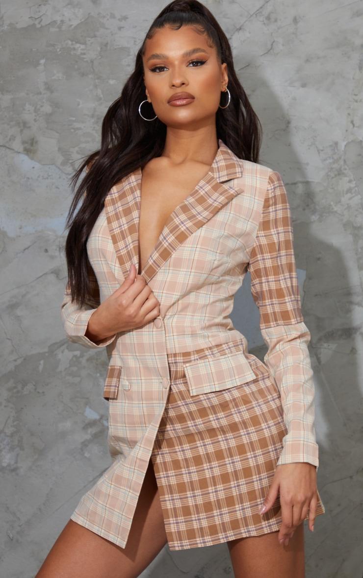 Stone Shoulder Pad Contrast Check Button Shirt Dress 1