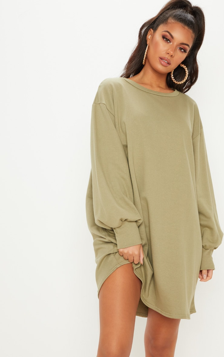 Beige Oversized Trui.Sage Green Oversized Sweater Dress Dresses Prettylittlething