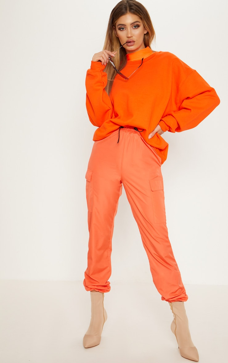 Orange Toggle Waist Shell Suit Track Pants 1