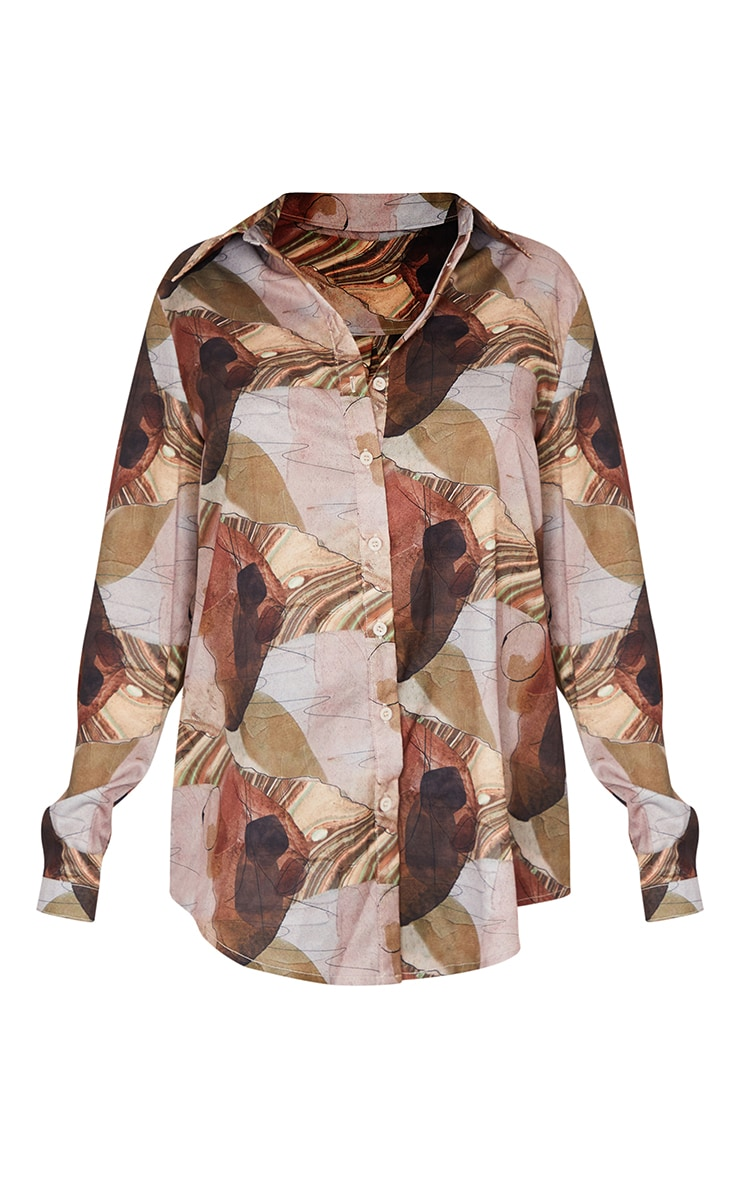 Beige Abstract Print Oversized Shirt 5
