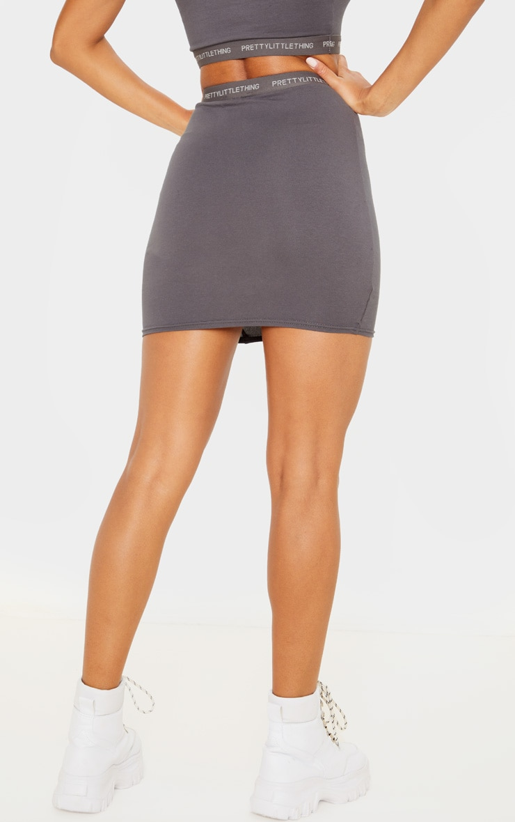 PRETTYLITTLETHING Lead Grey Tape Jersey Mini Skirt 4