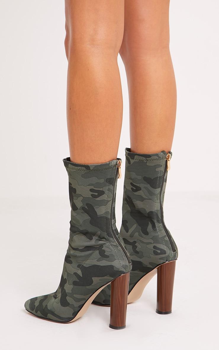 Mikayla Khaki Camouflage Sock Boots 4