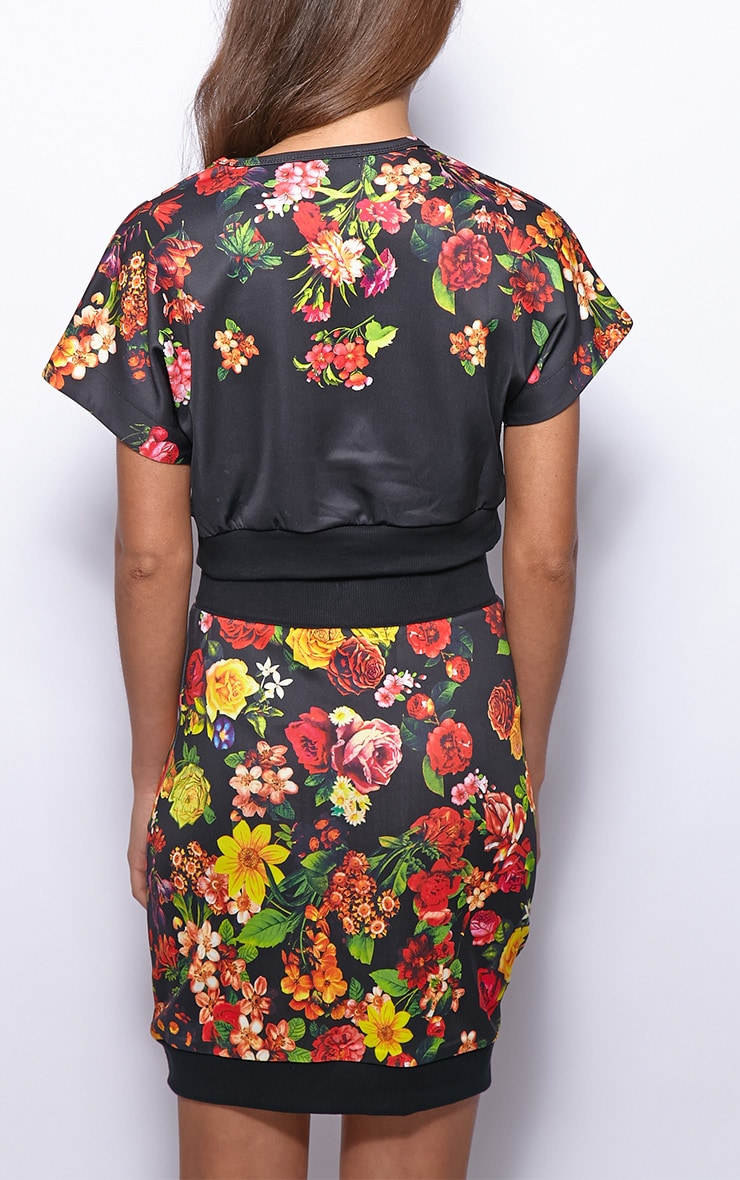 Frankie Black Floral Print Silk Crop Top  2
