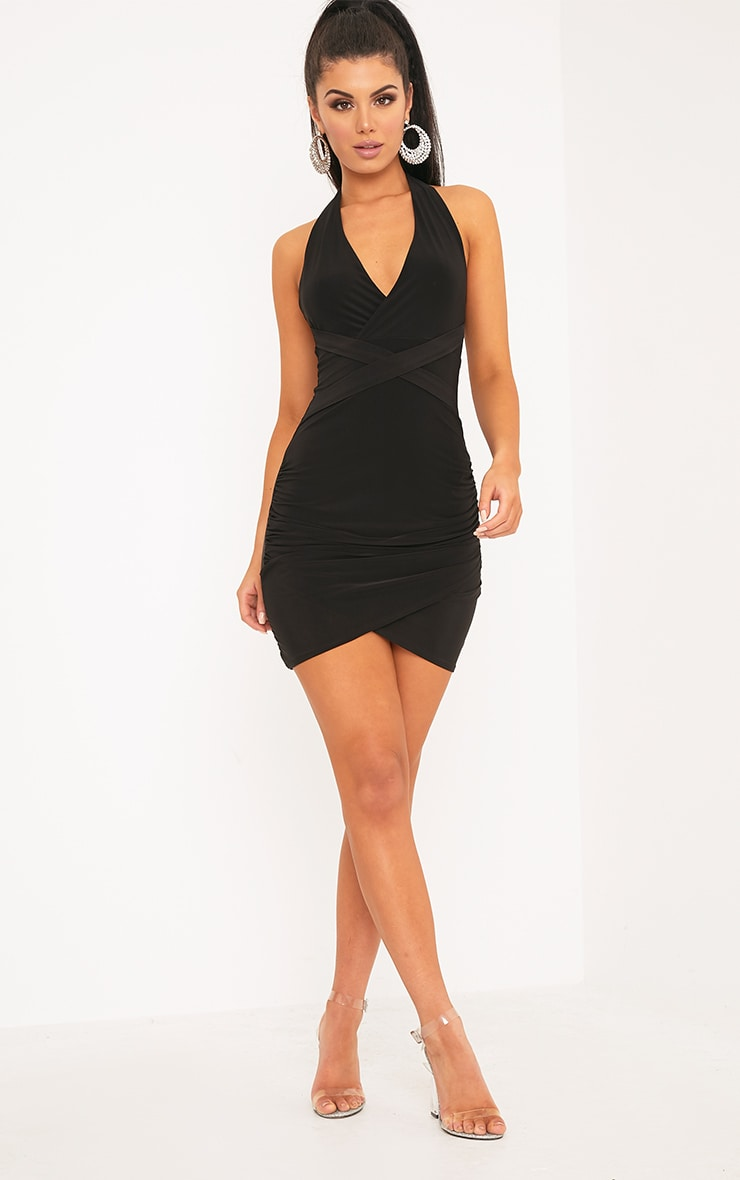 Loana Black Wrap Detail Bodyon Dress 3