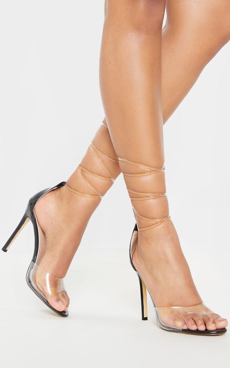 Sandales à talons noires à lacets transparents 1