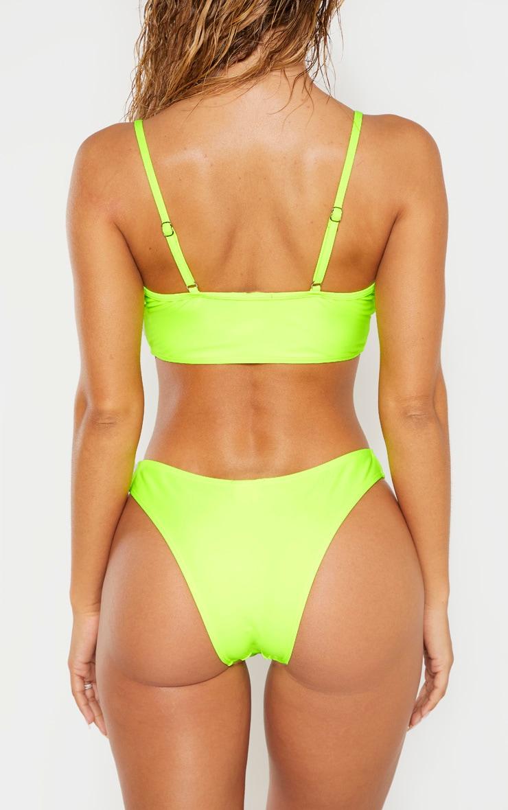 Neon Yellow Deep Side V Bikini Bottom 3