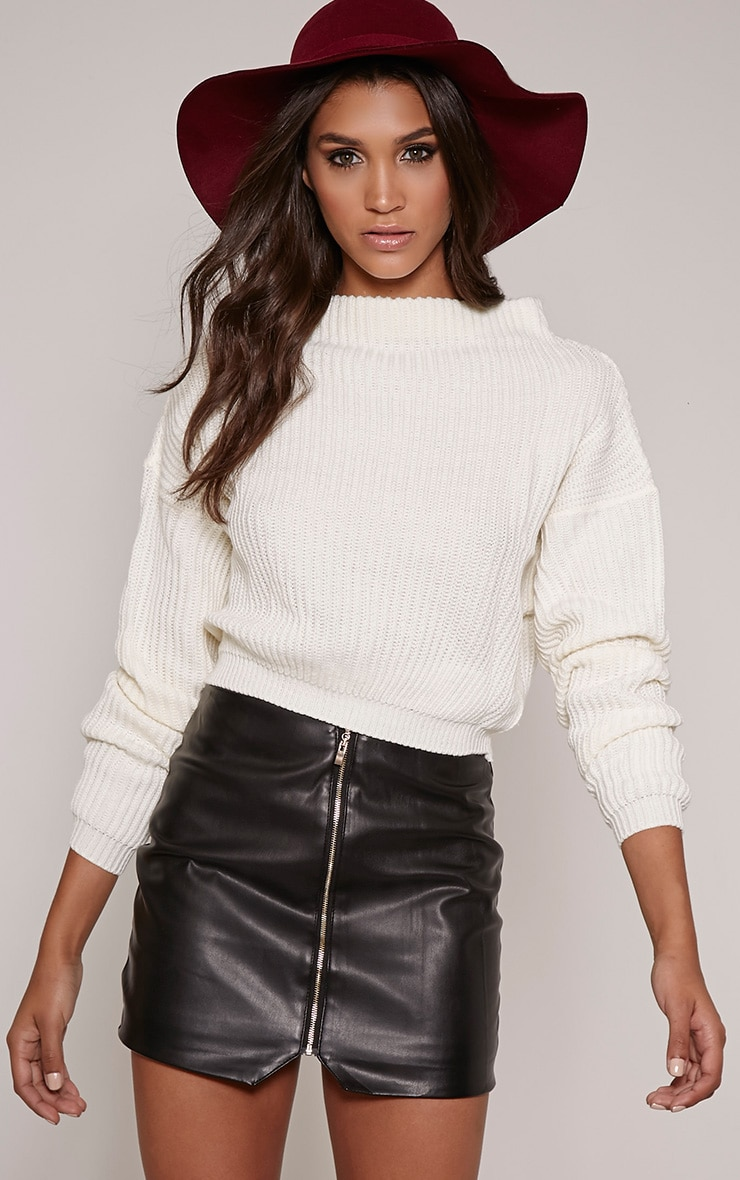 Jodie Cream Funnel Neck Oversized Jumper 1