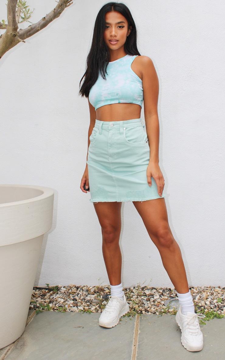 Petite Mint Distressed Hem Skirt 1