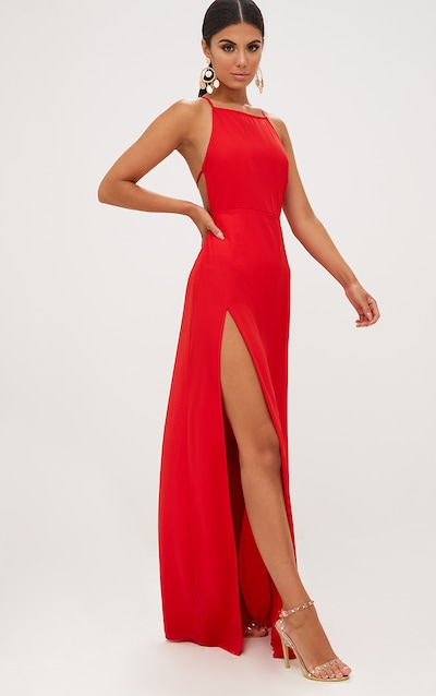 Red Strappy Back Detail Chiffon Maxi Dress